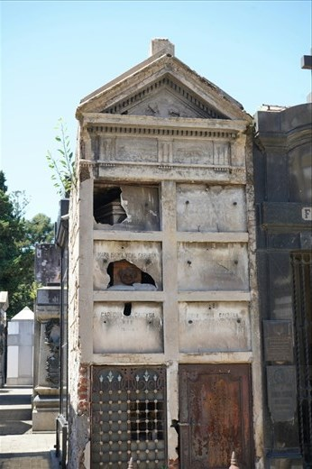 Real estate in the cemetary's is just like in the city.  When a family stops paying taxes on their plot, it is no longer maintained and often falls into disrepair.