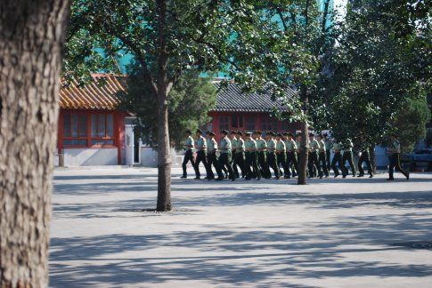 These soldiers live onsite to protect the forbidden city...