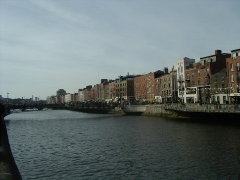 Looking back down the Liffey to the Four Courts