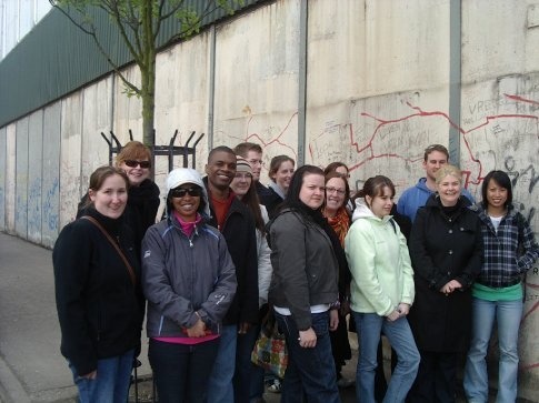 A group pic at the Peace wall