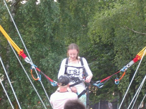 Ingrida getting ready for the bungy jump thing!