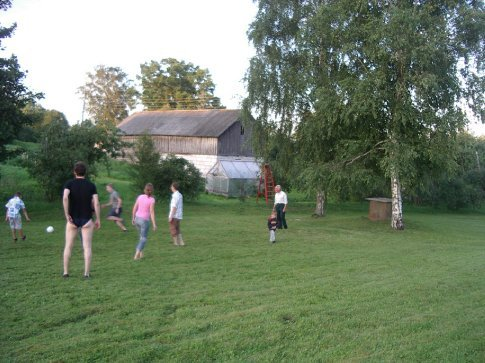 Playing soccer at the family christening
