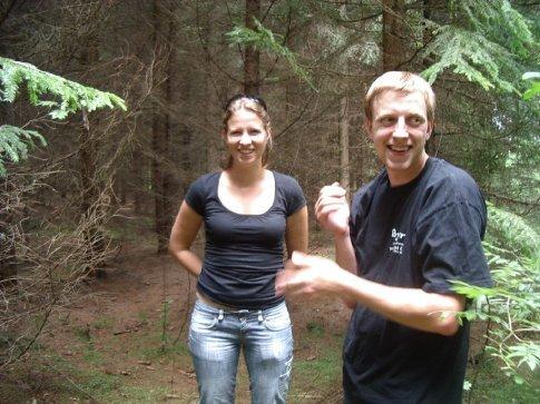 Anta and Arturs picking mushrooms