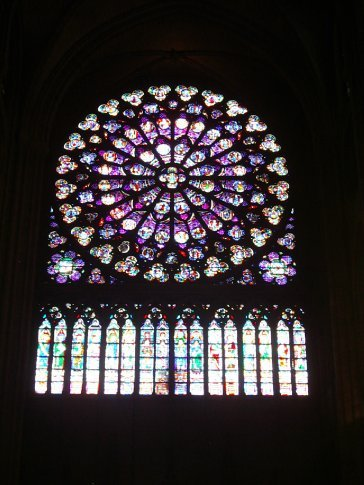The Beautiful stained glass windows inside the Notre Dame