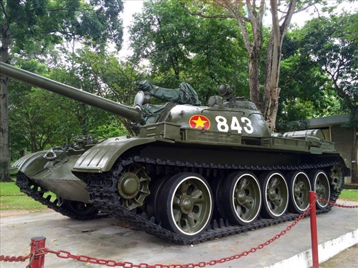 A replica of the tank that bulldozed the gates of the Reunifcation Palace, signaling the fall of Saigon and the end of the Vietnam war.