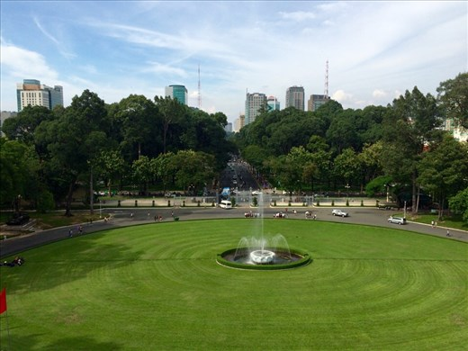 A wonderful view of Ho Chi Minh City from the balcony of the Reunification Palace
