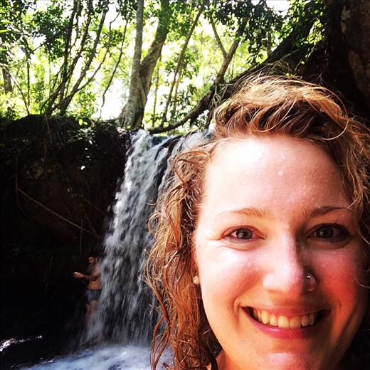 Playing in waterfalls in the Cambodian jungle