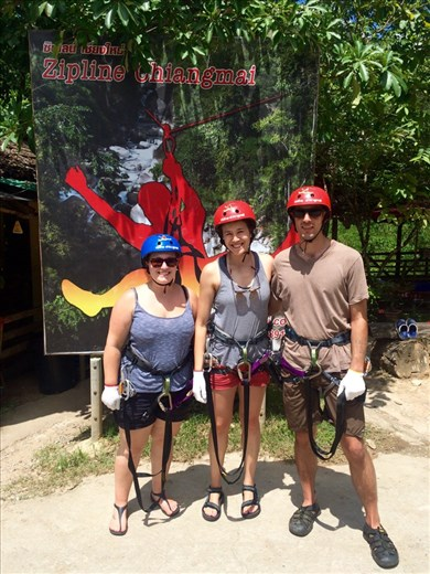 Zip lining in the jungle in Chiang Mai