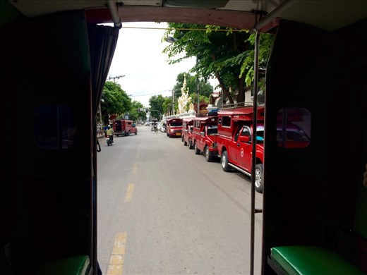 The red trucks act as shared taxis and are everywhere in Chiang Mai!