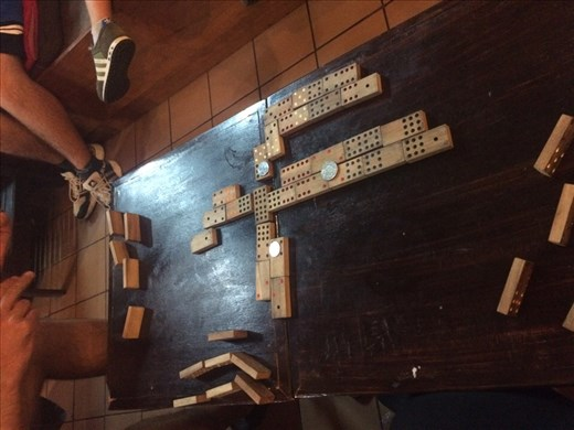 We got caught in the rain so we played dominoes
