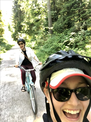 Biking through Stanley Park in Vancouver