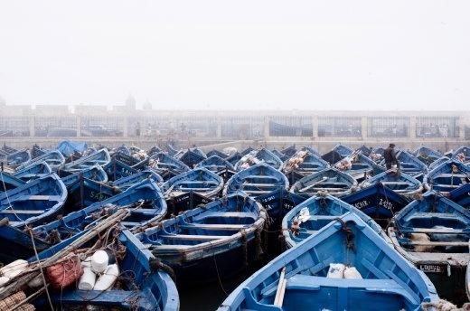 Fishing boats moored at Essaouira harbor.