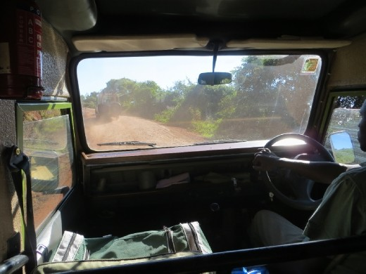 Inside the Land Rover with our driver/guide Joseph.