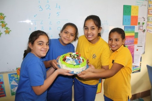 Incredible Edible Cell Project - Layal, Nour, Kenzy and Merna. Sadly, I did not get to taste this cake because I was sick! :-(