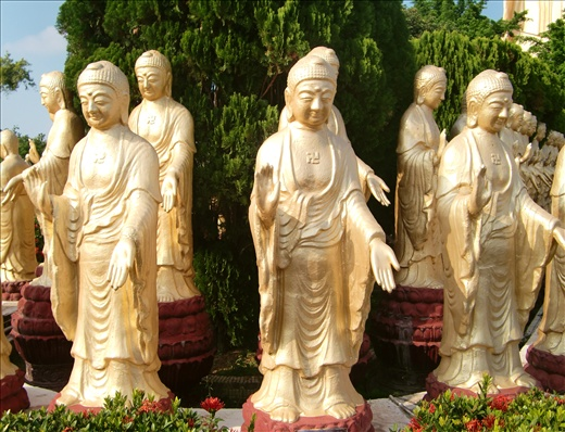 480 Buddha statues in peaceful appearance surrounding the Fuguang Mountain (佛光山)