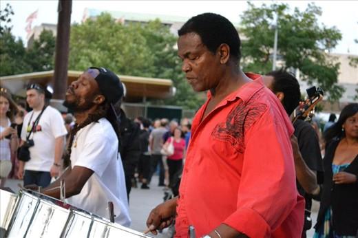 Musicians on South Embankment, London.