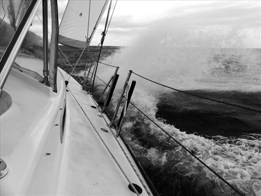 Slam, bash, the wind on the nose, as we crash our way windward, Thailand bound.