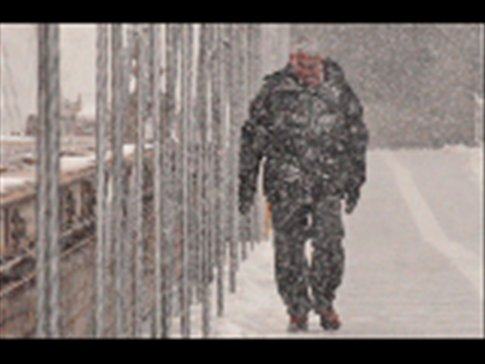 Blizzard on Brooklyn Bridge