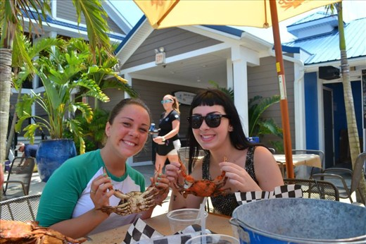 My friend and I (on the right) enjoying some Ocean City delicacies