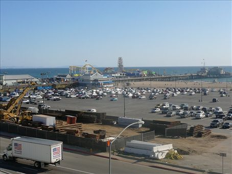 Santa Monica Pier, with the Roller Coaster high above