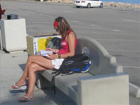 Reading the lonely planet waiting for a bus, she better get use to this.