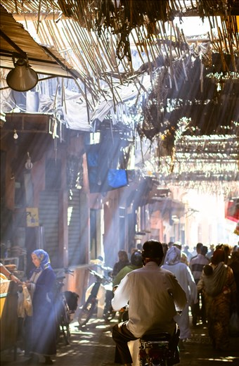 Market full of light in old Medina  looks exacty the same as centuries ago