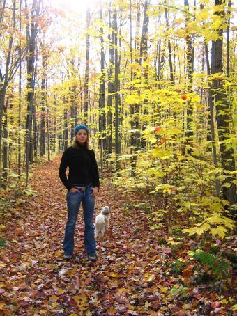 19.10.07 Me and Boubou (Bruno's dog) having a walk in the forest