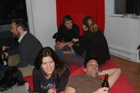 Relaxing at the party