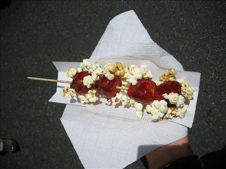 Candy covered strawberries with kettle corn... mmmmmmmm