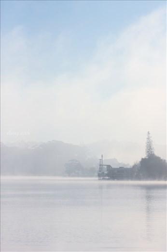 Xuan Huong Lake in fog