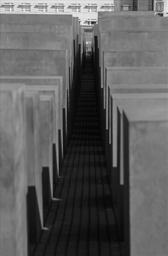 This is at the Holocaust memorial in Berlin. it contains numerous square stones that are meant to represent the headstones of those killed during the holocaust. if you enter the memorial you quickly become disoriented and confused. It seems to trap you inside and randomly spit you out.