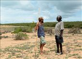 Simon, a remote area nurse, bumps into Banthay, a traditional owner of the land,  on the sand dunes that divide entangled mangroves and the ocean at Ganpura.: by nickyakehurst, Views[149]