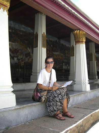 A very tired and hot temple goer