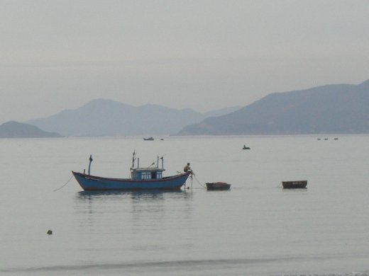 One of the many fishing boats