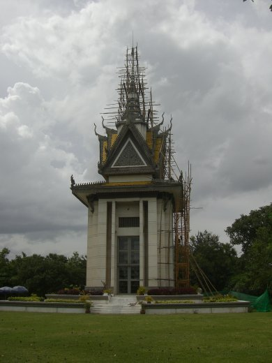 Memorial to the victims. It is filled with the skeltons found in the mass graves in the Killing Fields.