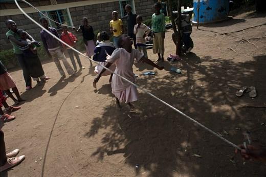 Children playing in the courtyard of the Kenyan association of Jukumu Letu