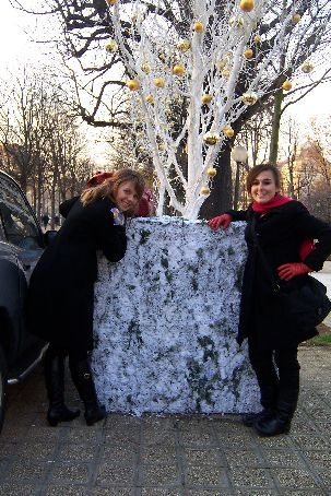 me and an, random fake snow and tree on champs elysees