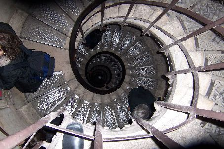the staircase going to the top of the arc