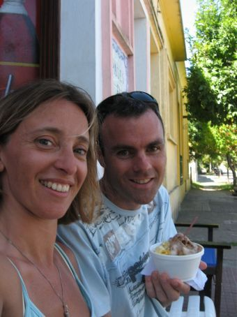Nigel and I enjoying delicious icecream on a very warm day in Colonia.