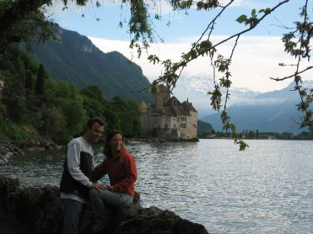Us beside Lake Geneve with the castle in the background.