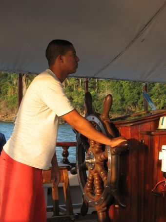 The skipper of our boat, to Isla Grande.