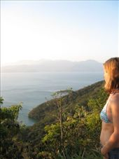 Laura at the lookout on return from the other side of the island.  A very steep and long walk over a mountain range in the middle of the island, (Isla Grande).: by nigelb, Views[226]