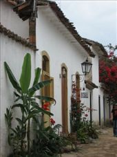 Another typical colonial house in Parati.  We really liked the red flowers and ornate street lamps.: by nigelb, Views[230]