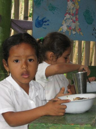 The kids at the Rio Muchacho school.  The mother of this little girl worked in the kithchen at the farm.