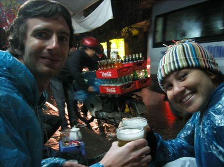Chris and Gretel drinking the cheapest beer in the world!