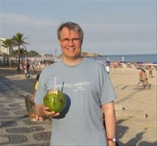 Nils on the beach at Camboriu, Santa Catarino, Brazil