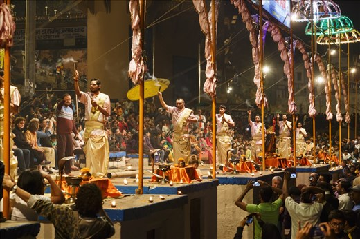 The traditional Ganga Arti performed on the ghats at dusk.