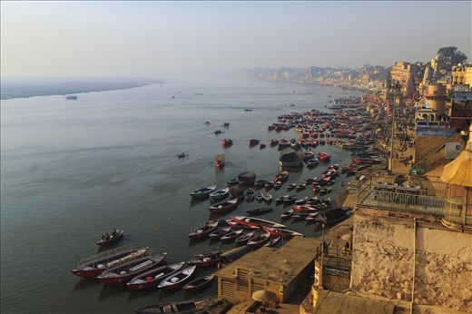 Bird's eve view of the Ganga and the ghats during early morning hours