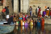 Devotees offering prayers to the Sun God after taking a dip in the holy Ganga : by nitinv29, Views[255]