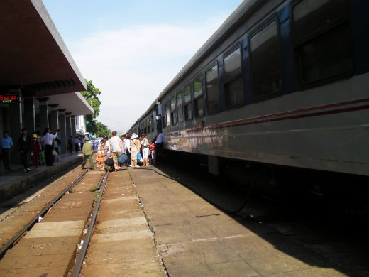 Train blocked by people